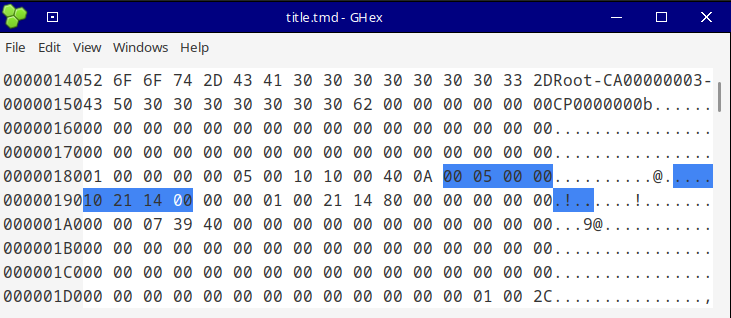 tmd in hex editor